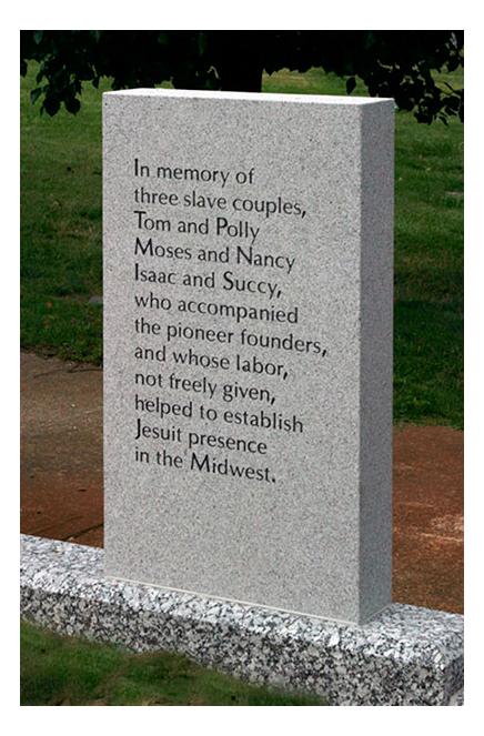 Memorial to enslaved at Calvary Cemetery